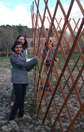 students building yurt at Mount Holyoke